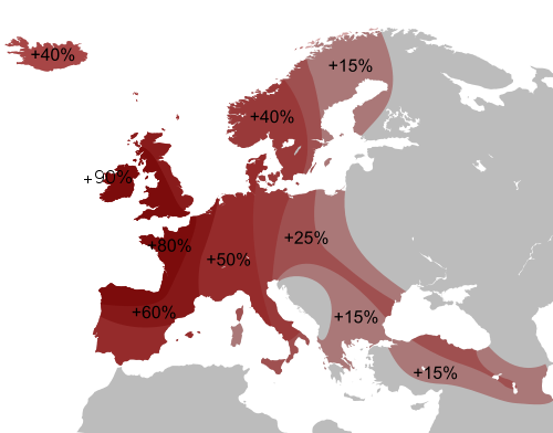 Map of the Distribution of Y-DNA Haplogroup R1b - by Crates (2009).