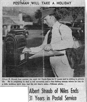 Photo of mail carrier, Albert Straub.