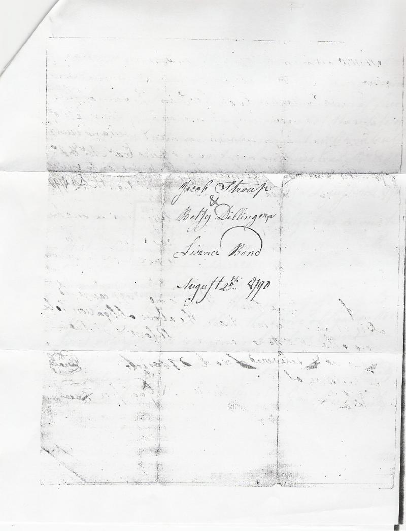 Flip side of the marriage bond of Jacob STRAUB / STROUP & Betsy DILLINGER.