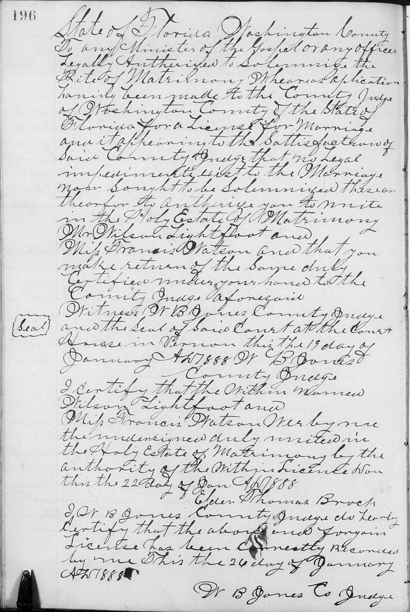 Image of Washington County, Florida, Marriage Certificate for Wilson LIGHTFOOT and Frances WATSON.